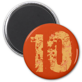 DISTRESSED AND ERODED STYLE NUMBER 10 2 INCH ROUND MAGNET