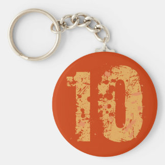 DISTRESSED AND ERODED STYLE NUMBER 10 BASIC ROUND BUTTON KEYCHAIN