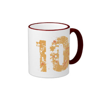 DISTRESSED AND ERODED STYLE NUMBER 10 RINGER COFFEE MUG