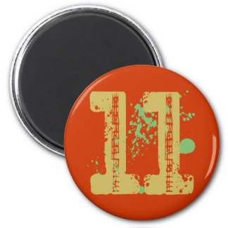 DISTRESSED AND SPLATTER STYLE NUMBER 11 MAGNET