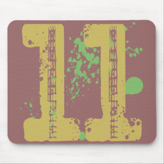DISTRESSED AND SPLATTER STYLE NUMBER 11 MOUSE PAD