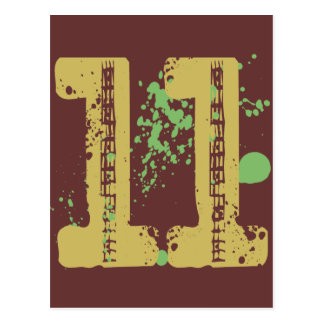 DISTRESSED AND SPLATTER STYLE NUMBER 11 POST CARD