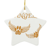 Distressed Angel Pet Paws Ceramic Ornament