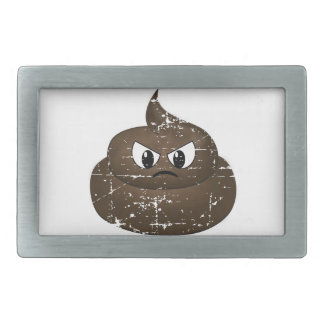 Distressed Angry Cartoon Poop Belt Buckle