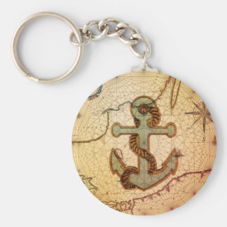 Distressed Antique Nautical Map vintage Anchor Keychain