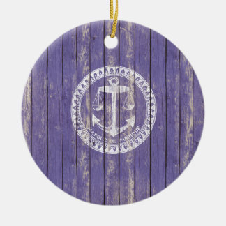 Distressed Antique Wood Print with Anchor Ceramic Ornament