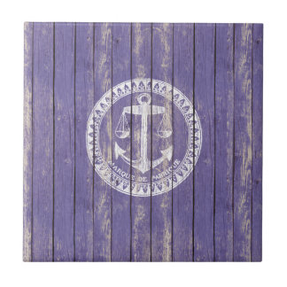 Distressed Antique Wood Print with Anchor Small Square Tile