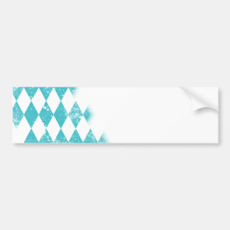 Distressed Aqua Blue Argyle Pattern Bumper Sticker