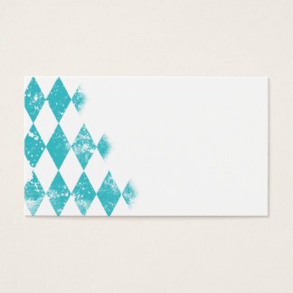 Distressed Aqua Blue Argyle Pattern Business Card