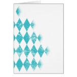 Distressed Aqua Blue Argyle Pattern Card