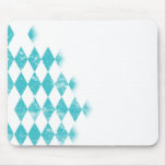 Distressed Aqua Blue Argyle Pattern Mouse Pad