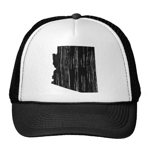 Distressed Arizona State Outline Trucker Hats