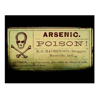 Distressed Arsenic Label Postcard