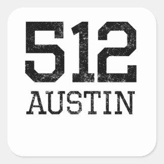 Distressed Austin 512 Square Sticker