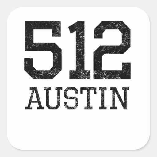 Distressed Austin 512 Stickers