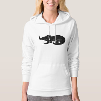 Distressed Baby Triceratops Silhouette Hooded Sweatshirt