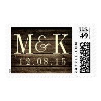 Distressed Barn Wood Rustic Monogram Wedding Stamp