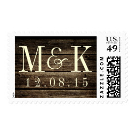 Distressed Barn Wood Rustic Monogram Wedding Stamp