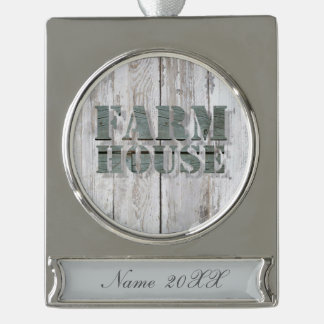 distressed barn wood western country farmhouse silver plated banner ornament
