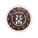 Distressed Barn Wood White Monogram Round Clock