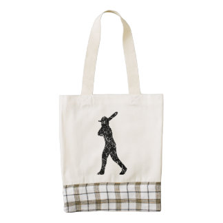 Distressed Baseball Batter Silhouette Zazzle HEART Tote Bag