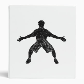 Distressed Basketball Defender Silhouette 3 Ring Binders