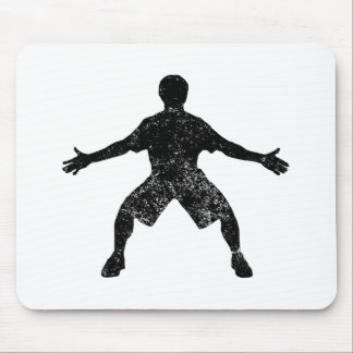 Distressed Basketball Defender Silhouette Mouse Pads