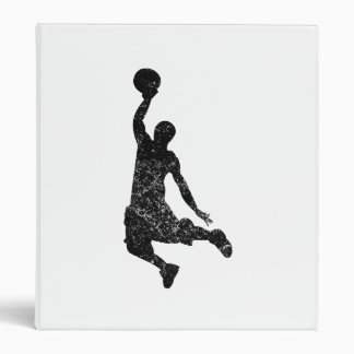 Distressed Basketball Dunk Silhouette 3 Ring Binders
