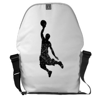 Distressed Basketball Dunk Silhouette Messenger Bags