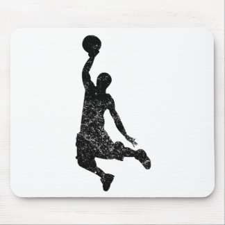 Distressed Basketball Dunk Silhouette Mousepad