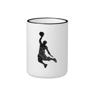 Distressed Basketball Dunk Silhouette Mugs