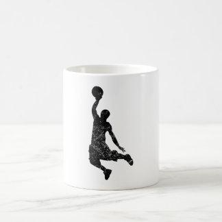Distressed Basketball Dunk Silhouette Coffee Mugs