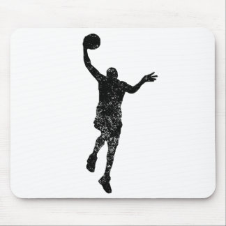Distressed Basketball Layup Silhouette Mouse Pads