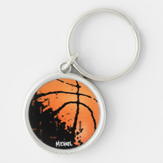 Distressed Basketball with Name Silver-Colored Round Keychain