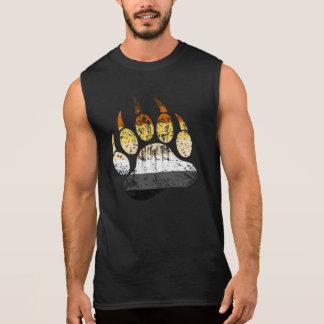 Distressed Bear Pride Flag Bear paw Sleeveless Shirt