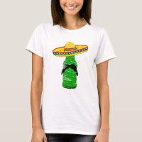 Distressed Beer With Mustache Wearing Sombrero T-Shirt