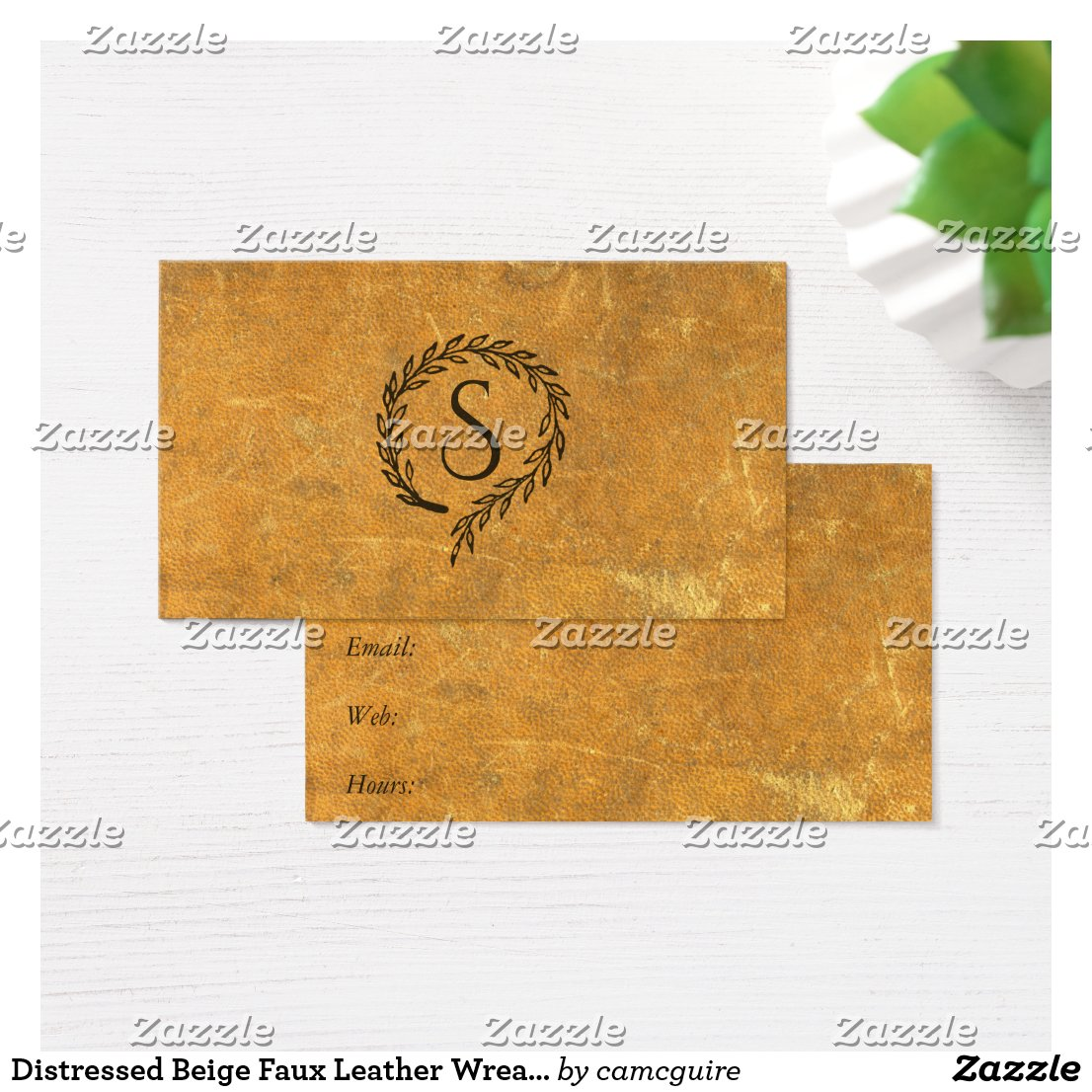 Distressed Beige Leather Inspired Wreath Business Card