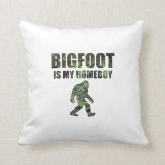 Distressed Bigfoot Is My Homeboy Camo Pillow