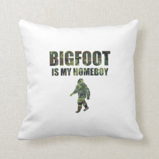 Distressed Bigfoot Is My Homeboy Camo Throw Pillows
