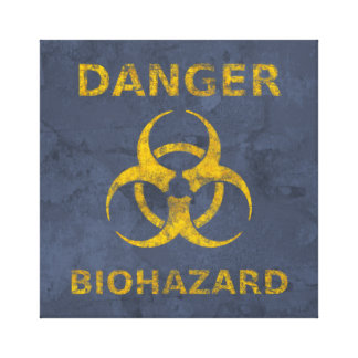 Distressed Biohazard Warning Canvas Print