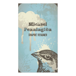 Distressed bird graphic design business card