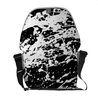 Distressed Black and White Distressed Paint Messenger Bag