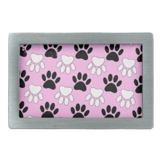 Distressed Black And White Paws On Pink Background Rectangular Belt Buckle