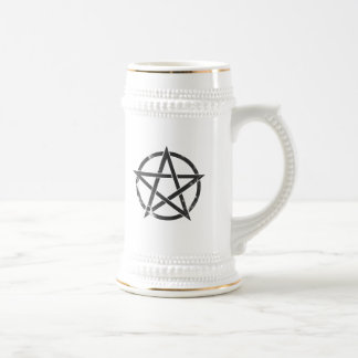 Distressed Black Pentagram - Pagan Symbol Beer Stein