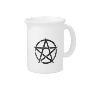Distressed Black Pentagram - Pagan Symbol Beverage Pitcher