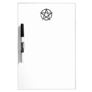 Distressed Black Pentagram - Pagan Symbol Dry-Erase Board