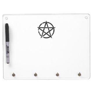 Distressed Black Pentagram - Pagan Symbol Dry Erase Board With Keychain Holder