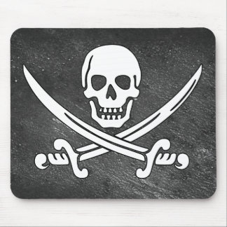 Distressed Black Skull And Pirate Swords Mouse Pad