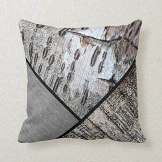 Distressed Black White Birch Bark Brushed Silver Throw Pillow