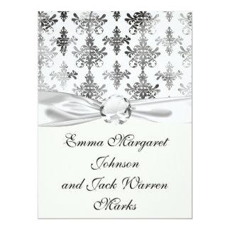 distressed black white intricate damask 6.5x8.75 paper invitation card